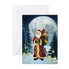 Santa Claus In The Forest Greeting Cards (Pk of 20