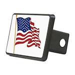 Waving US flag w pole Rectangular Hitch Cover