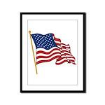 Waving US flag w pole Framed Panel Print