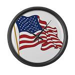 Waving US flag w pole Large Wall Clock