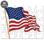 Waving US flag w pole Puzzle