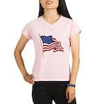 Waving US flag w pole Performance Dry T-Shirt