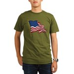 Waving US flag w pole Organic Men's T-Shirt (dark)