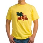 Waving US flag w pole Yellow T-Shirt
