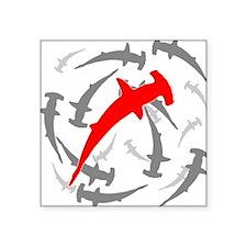 "Circling Hammerhead Sharks Square Sticker 3"" x 3"""