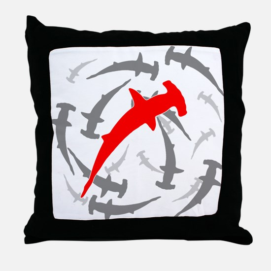 Circling Hammerhead Sharks Throw Pillow