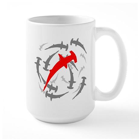 Circling Hammerhead Sharks Large Mug