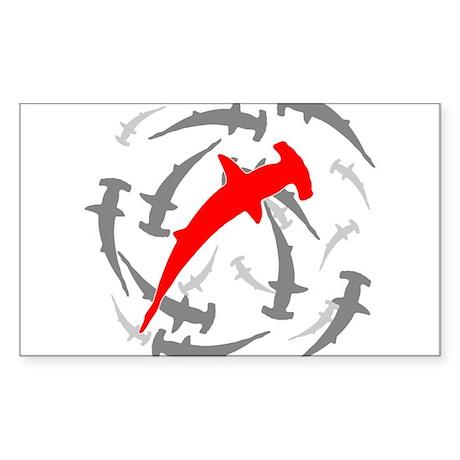 Circling Hammerhead Sharks Sticker (Rectangle)