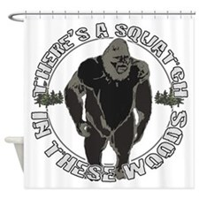 Sqautch in woods Shower Curtain