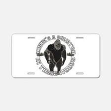 Sqautch in woods Aluminum License Plate