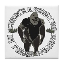 Sqautch in woods Tile Coaster