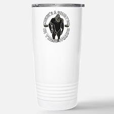 Sqautch in woods Travel Mug