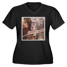 Owl on a Branch Women's Plus Size V-Neck Dark T-Sh