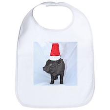 Santa micro pig square design Bib