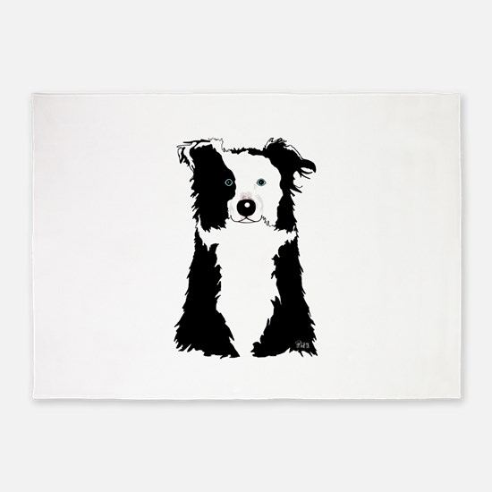 BorderCollieWhite.png 5'x7'Area Rug