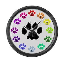 Rainbow Paws Large Wall Clock