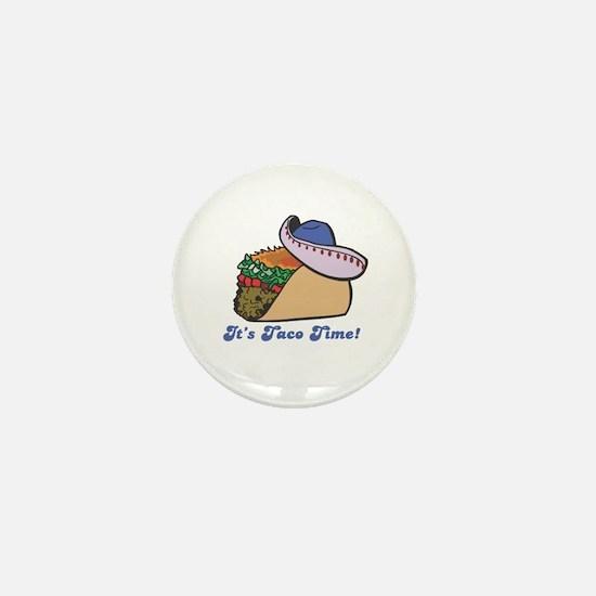 Taco Time (Taco with Sombrero) Mini Button (10 pac
