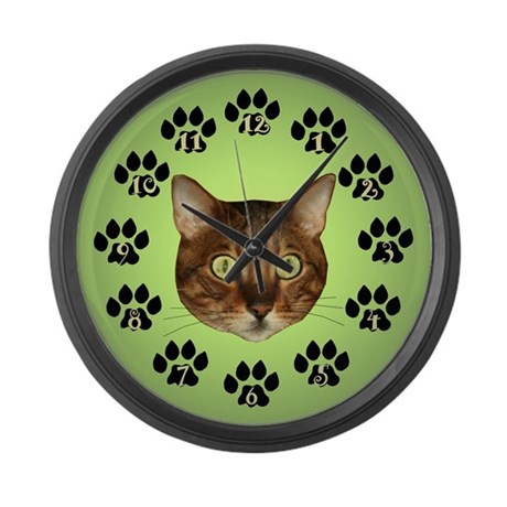 Bengal Cat Face On Green Large Wall Clock