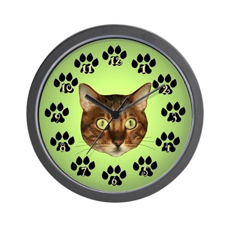 Bengal Cat Face On Green Wall Clock
