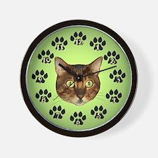 Bengal Cat Face On Green Wall Clock