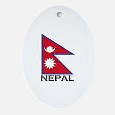 Nepal Flag Stuff Oval Ornament
