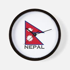 Nepal Flag Stuff Wall Clock