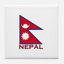 Nepal Flag Gear Tile Coaster