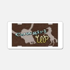 Cowgirl Up Leather License Plate