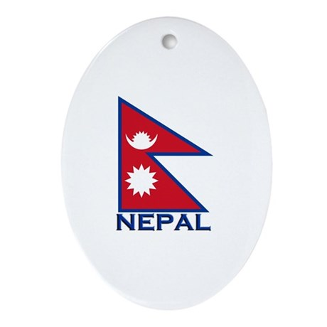 Nepal Flag Merchandise Oval Ornament