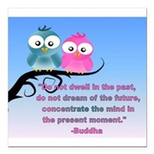 Cute Owls in the present moment buddha Square Car