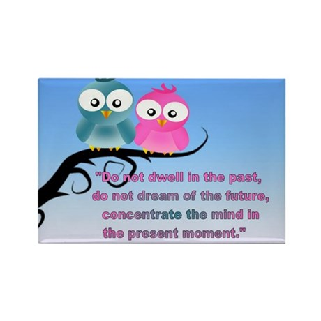 Cute Owls in the present moment buddha Rectangle M