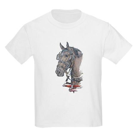 Percheron Draft horse harness Kids Light T-Shirt