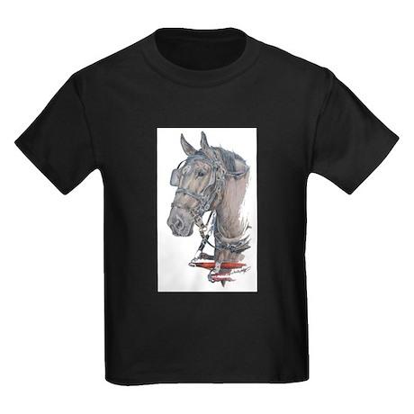 Percheron Draft horse harness Kids Dark T-Shirt