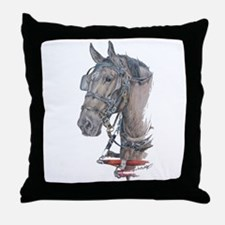 Percheron Draft horse harness Throw Pillow