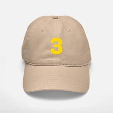 3 YELLOW # THREE Baseball Baseball Cap