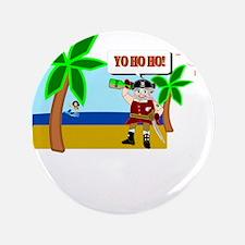 """Pirate Santa sez YoHoHo 3.5"""" Button"""