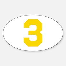 3 YELLOW # THREE Sticker (Oval)