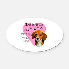 Beagle Pawprints 2 Oval Car Magnet