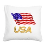 Flag of US e2 Square Canvas Pillow