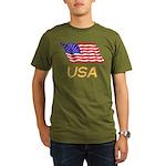 Flag of US e2 Organic Men's T-Shirt (dark)