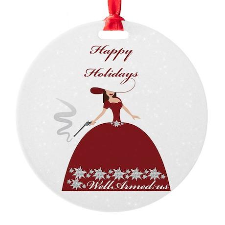 WellArmed.US Girl Happy Holidays Round Ornament