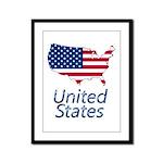 US flag map e3 Framed Panel Print