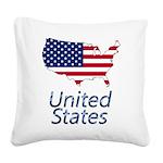 US flag map e3 Square Canvas Pillow