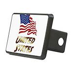 Waving US flag e3 Rectangular Hitch Cover