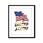 Waving US flag e3 Framed Panel Print