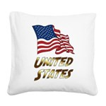 Waving US flag e3 Square Canvas Pillow