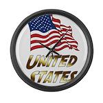 Waving US flag e3 Large Wall Clock