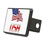 Waving US flag e2 Rectangular Hitch Cover