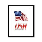 Waving US flag e2 Framed Panel Print