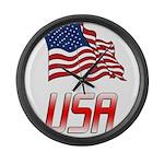 Waving US flag e2 Large Wall Clock
